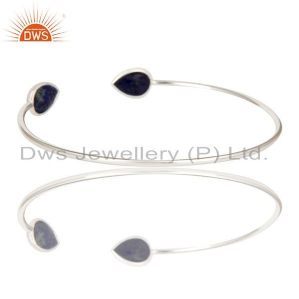 Suppliers Solid 925 Sterling Silver Lapis Lazuli Gemstone Openable Sleek Cuff Bangle