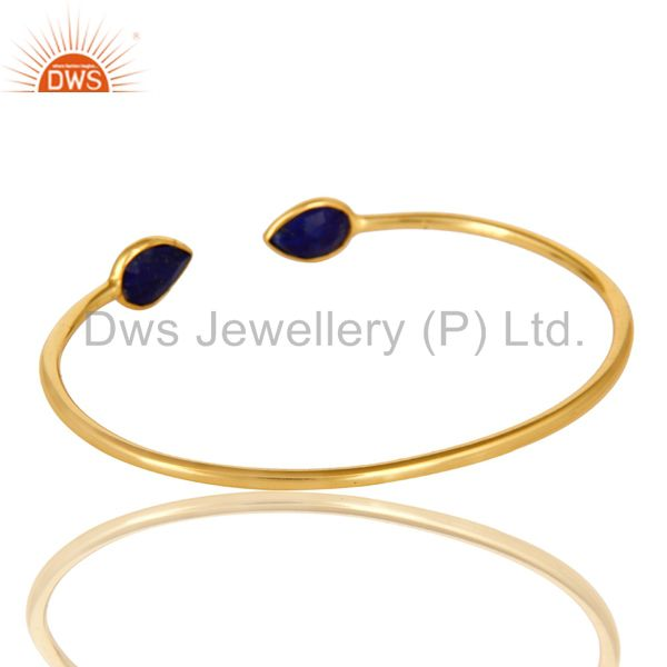 Suppliers 18K Yellow Gold Plated Sterling Silver Lapis Lazuli Gemstone Open Bangle