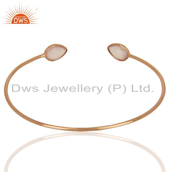 Suppliers Rose Chalcedony Gemstone 925 Silver Rose Gold Plated Silver Cuff