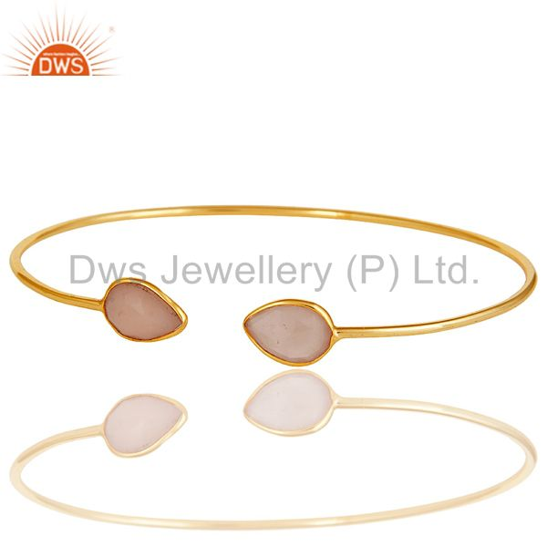 Suppliers 18K Yellow Gold Plated Sterling Silver Chalcedony Gemstone Open Stackable Bangle
