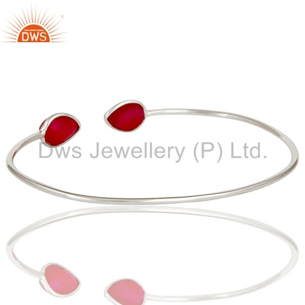 Suppliers Handmade Dyed Red Chalcedony Gemstone Solid 925 Sterling Silver Stackable Bangle