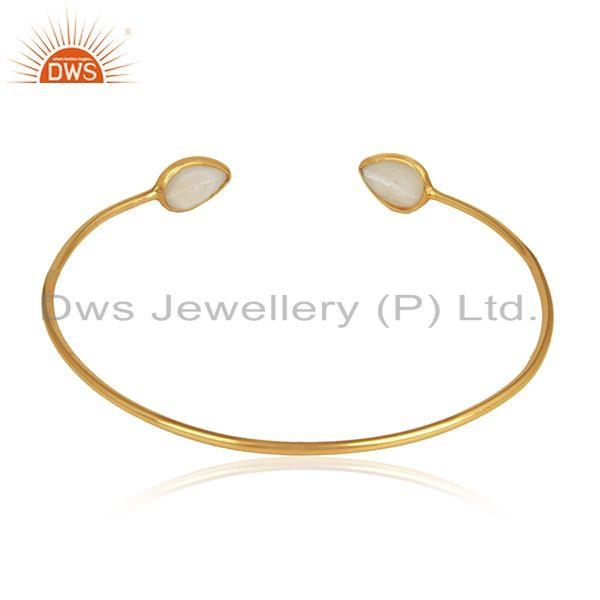 Designer of Natural pearl gemstone designer 18k gold plated sleek cuff bangle