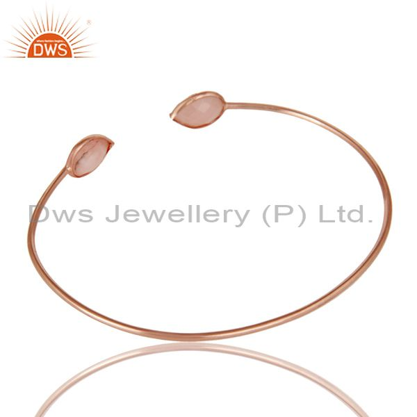 Suppliers 18K Rose Gold Plated Sterling Silver Pink Opal Gemstone Open Stackable Bangle