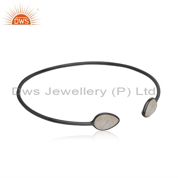 Suppliers Black Rhodium Plated 925 Silver Rainbow Moonstone Cuff Bangle Suppliers INdia