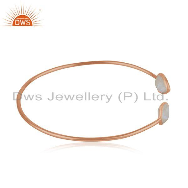 Suppliers Rose Gold Plated 925 Silver Rainbow Moonstone Simple Cuff Bracelet Wholesaler