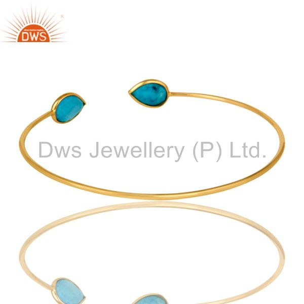 Suppliers 18K Rose Gold Plated Sterling Silver Matrix Turquoise Stackable Open Bangle