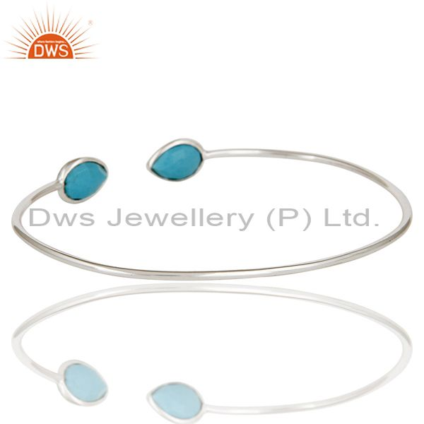 Suppliers Solid 925 Sterling Silver Turquoise Gemstone Stackable Open Bangle Jewellery