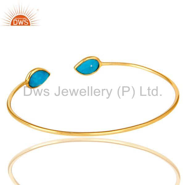 Suppliers 18K Rose Gold Plated Sterling Silver Turquoise Gemstone Stackable Open Bangle