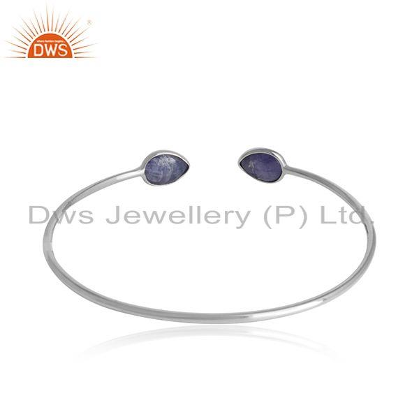 Designer of Tanzanite gemstone girls white rhodium plated silver cuff bangle