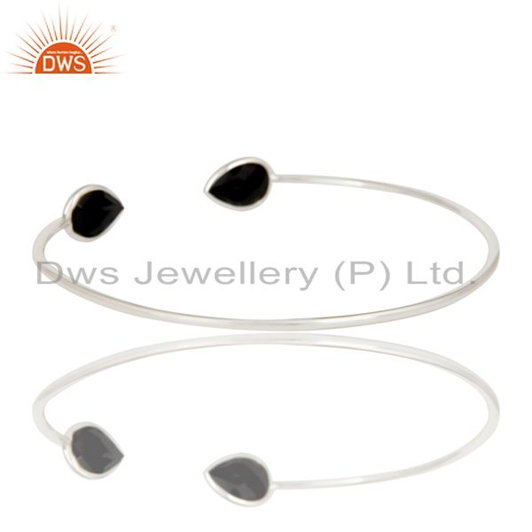 Suppliers Indian Handmade Solid 925 Sterling Silver Black Onyx Adjustable Cuff Bangle