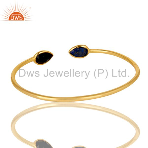 Suppliers 22K Yellow Gold Plated Sterling Silver Lapis Lazuli And Black Onyx Open Bangle
