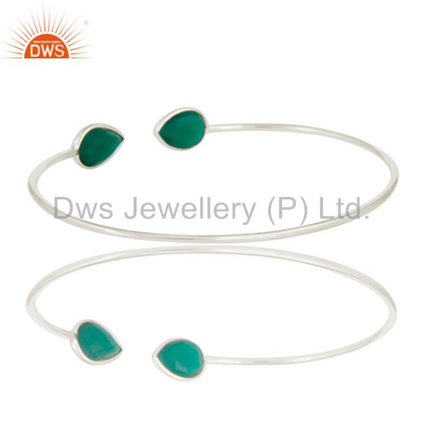 Suppliers Natural Green Onyx Gemstone Solid 925 Sterling Silver Adjustable Bangle