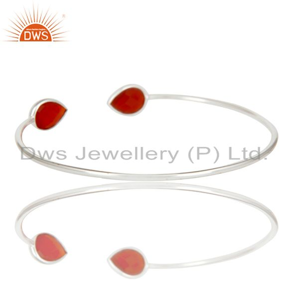 Suppliers Handmade Solid 925 Sterling Silver Red Onyx Gemstone Adjustable Cuff Bangle