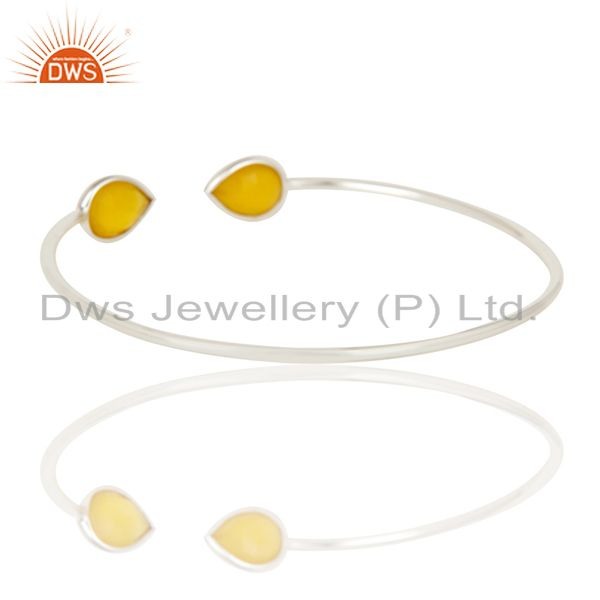 Suppliers Faceted Dyed Chalcedony 18K Gold Over Solid Sterling Silver Adjustable Bangle
