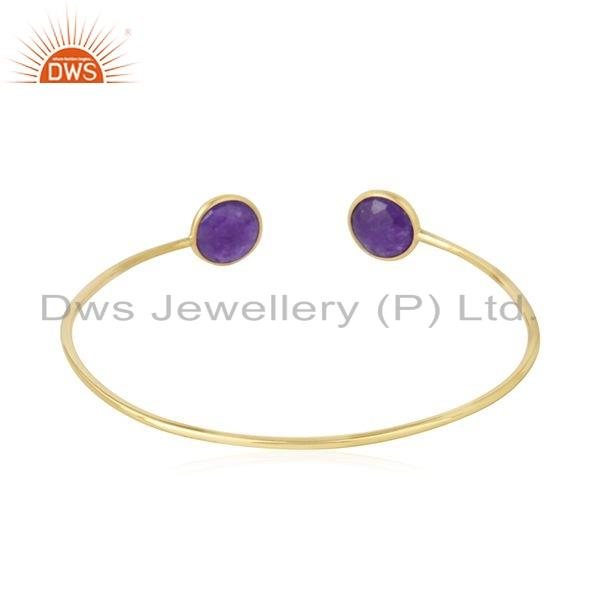 Suppliers Purple Aventurine Gemstone Gold Plated 925 Silver Cuff Bangle Jewelry