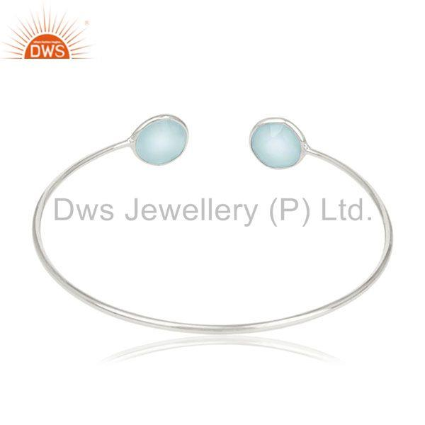 Suppliers Blue Chalcedony Gemstone Sterling Silver Cuff Bracelet Manufacturers