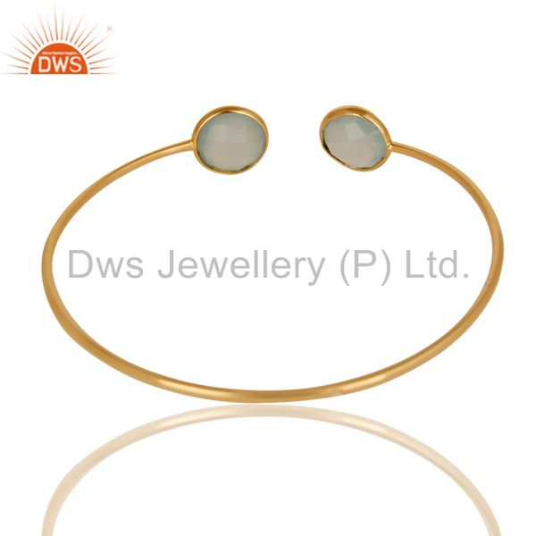Suppliers Faceted Dyed Chalcedony 18K Gold Over 925 Sterling Silver Adjustable Bangle