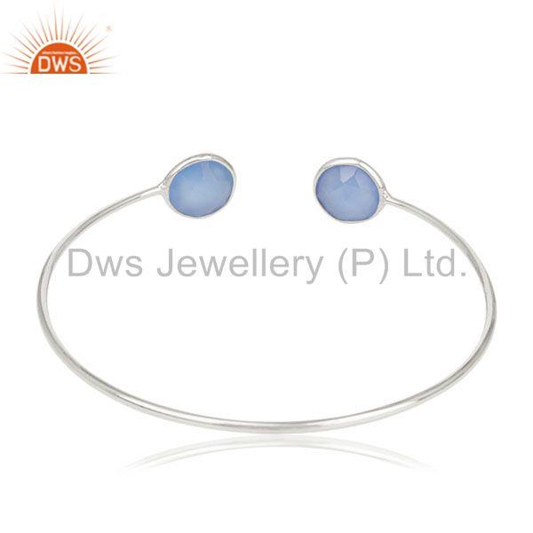 Suppliers Handmade Blue Chalcedony Gemstone 925 Silver Cuff Bracelet Manufacturer India