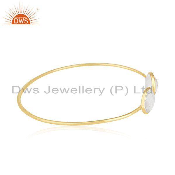 Suppliers Clear Crystal Quartz 925 Silver Gold Plated Cuff Bracelet Manufacturer