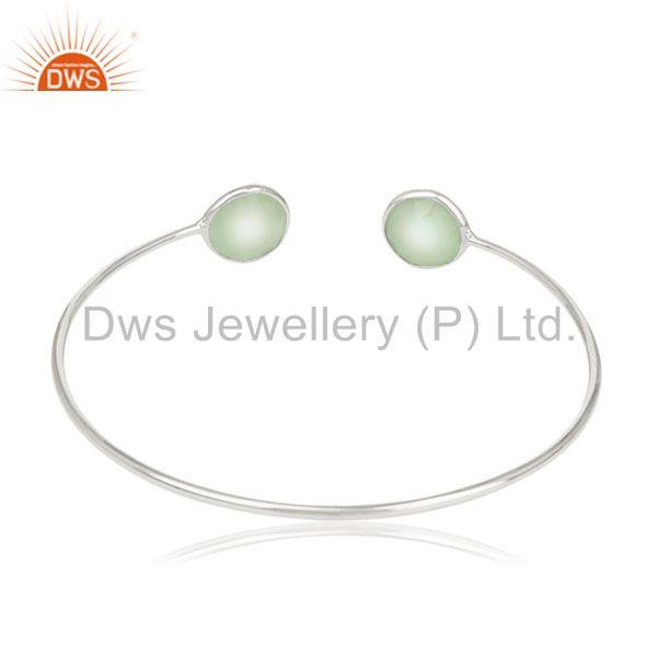 Suppliers Handmade Sterling Silver Chalcedony Gemstone Cuff Bracelet Wholesale Suppliers