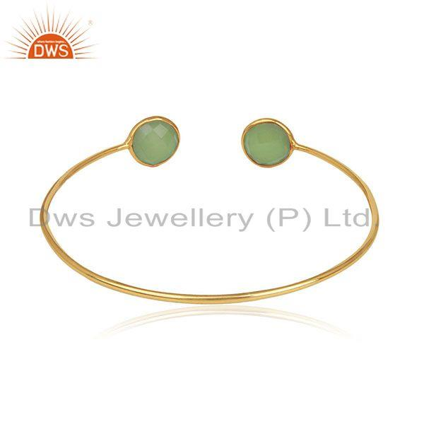 Suppliers 18k Gold Plated 925 Silver Chalcedony Gemstone Adjustable Cuff Bracelet Supplier