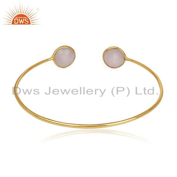 Suppliers Handmade 18k Gold Plated 925 Silver Chalcedony Gemstone Cuff Bracelet Wholesale
