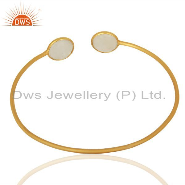 Suppliers Rainbow Moonstone Yellow Gold Plated Sterling Silver Cuff Bangle