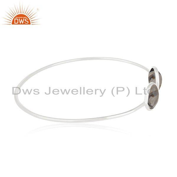 Suppliers Smoky Quartz Stone 925 Sterling Silver Cuff Bangle Manufacturer of Jewelry