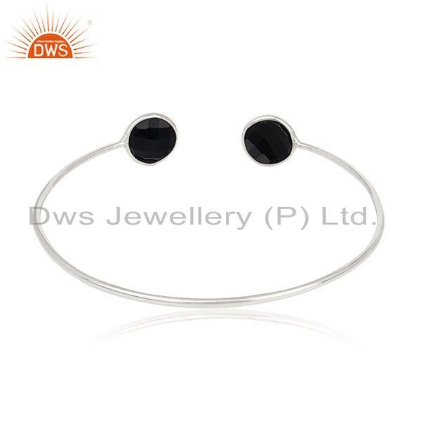 Suppliers Black Onyx Gemstone 925 Silver Cuff Bracelet Jewelry Manufacturer for Brands