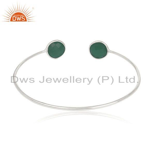 Suppliers Handmade 925 Silver Green Onyx Gemstone Cuff Bracelet Manufacturer from India
