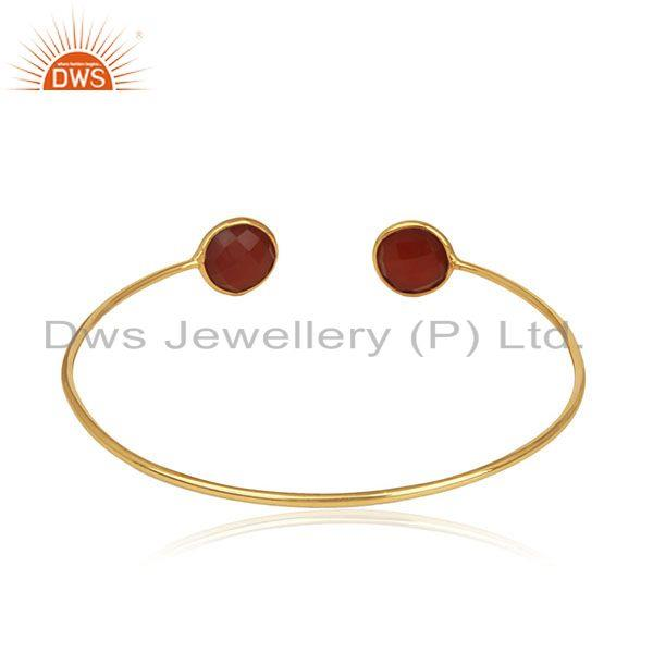 Suppliers Red Onyx Gemstone 925 Silver Gold Plated Cuff Bracelet Manufacturer