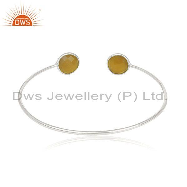 Suppliers Yellow Chalcedony Gemstone 925 Sterling Silver Cuff Bracelet Wholesale