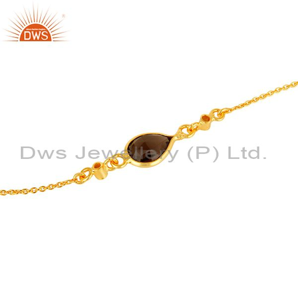 Suppliers 18K Yellow Gold Plated Sterling Silver White Topaz And Smoky Quartz Bracelet
