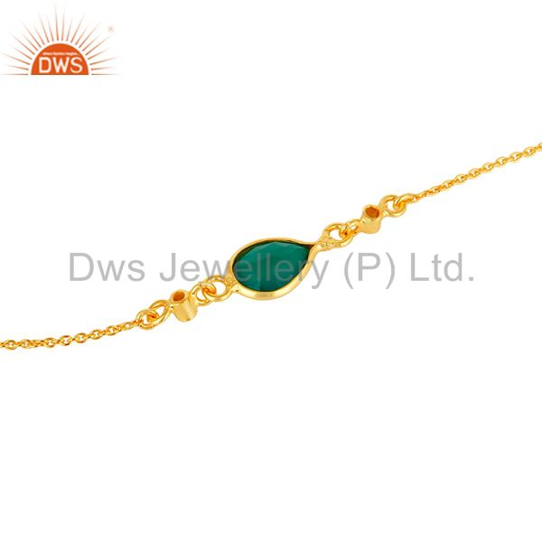 Suppliers 18K Yellow Gold Plated Sterling Silver Green Onyx And White Topaz Chain Bracelet