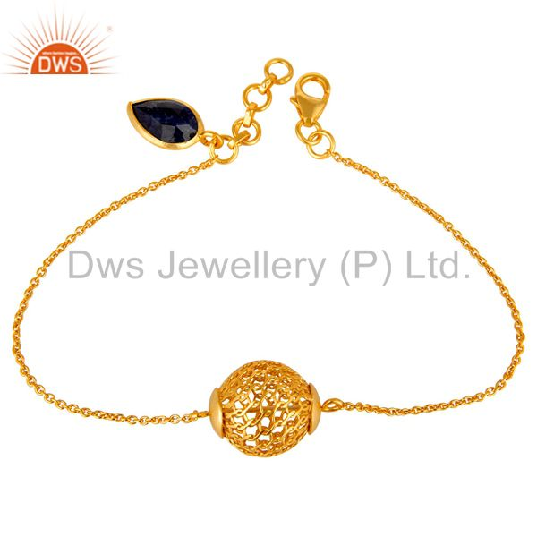Suppliers 18K Gold Plated Sterling Silver Ball Designer Blue Sapphire Chain Bracelet