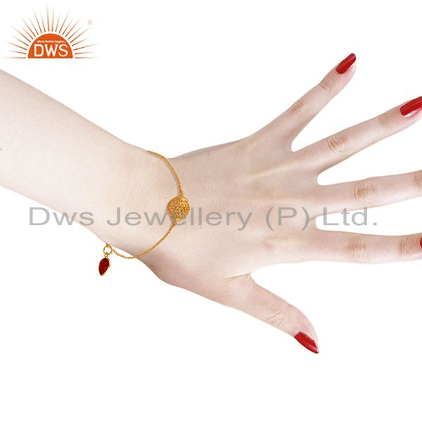 Suppliers Red Onyx Designer Gold Plated  Silver Chain Bracelet Jewelry wholesale