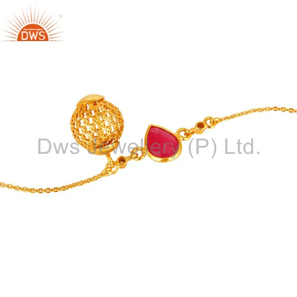 Suppliers 18K Yellow Gold Plated Sterling Silver Spheres Charm Pink Chalcedony Bracelet