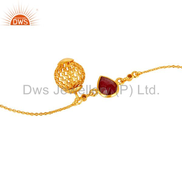 Suppliers 18K Yellow Gold Plated Sterling Silver Ruby And White Topaz Ball Chain Bracelet
