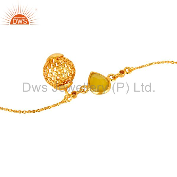 Suppliers 14K Gold Plated Sterling Silver Yellow Chalcedony And White Topaz Chain Bracelet