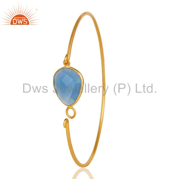 Wholesalers of Chalcedony gemstone 18k gold over sterling silver openable bangle