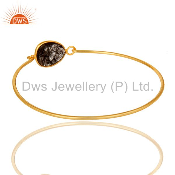 Wholesalers of Black rutile 18k gold plated sterling silver openable bangle