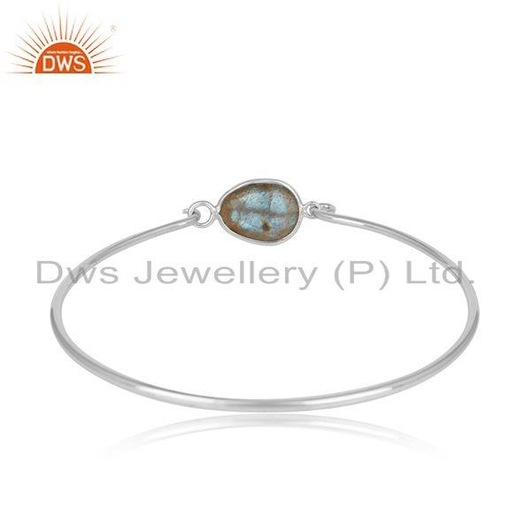 Designer of Labradorite rhodium plated sterling silver openable bangle
