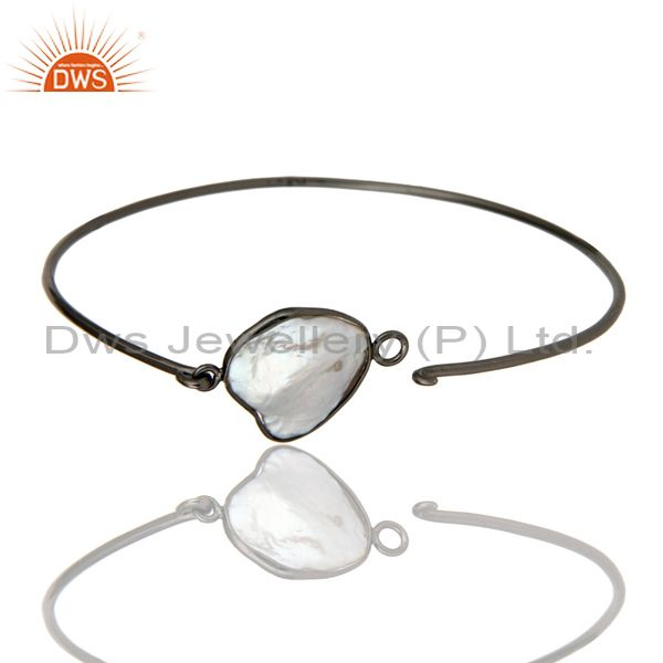 Wholesalers of Natural white pearl silver black oxidized handmade openable bangle