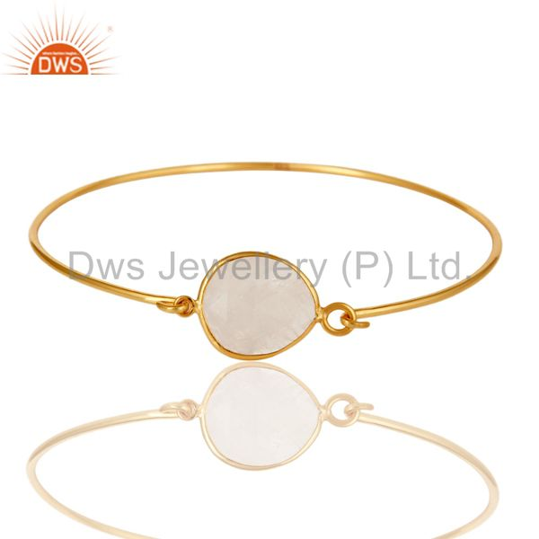 Wholesalers of Rainbow moonstone 925 silver gold over handmade openable bangle