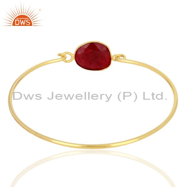 Supplier of Ruby Corundum Sterling Silver Gold Plated Handmade Openable Bangle In India