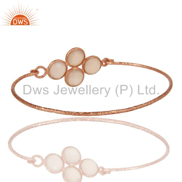 Wholesalers of 18k rose gold over 925 silver charm fashion dyed chalcedony bangle