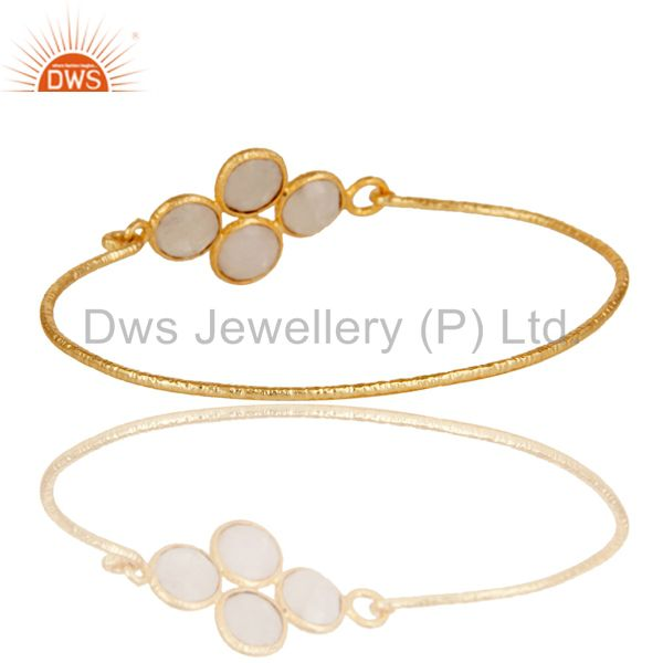 Wholesalers of 18k yellow gold 925 silver charm fashion rainbow moonstone bangle