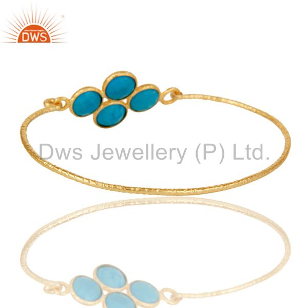 Wholesalers of 18k yellow gold 925 silver charm fashion natural turquoise bangle