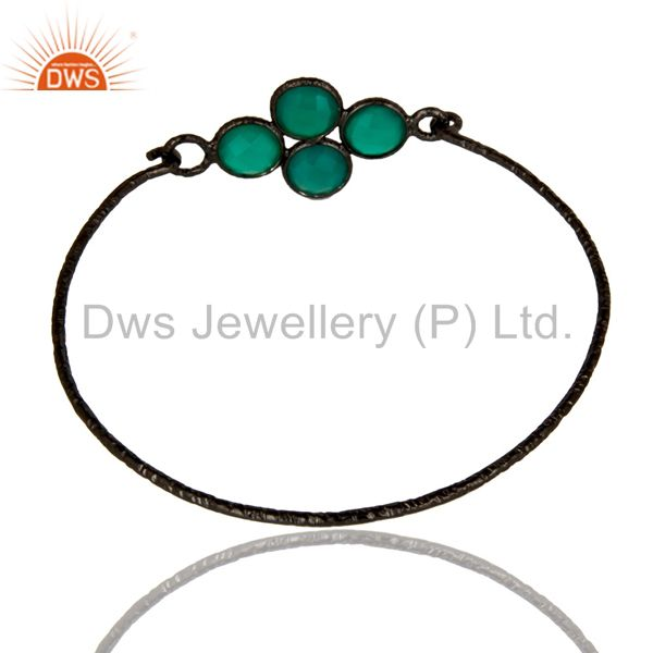 Wholesalers of Black oxidized 925 silver handmade bezel set green onyx sleek bangle