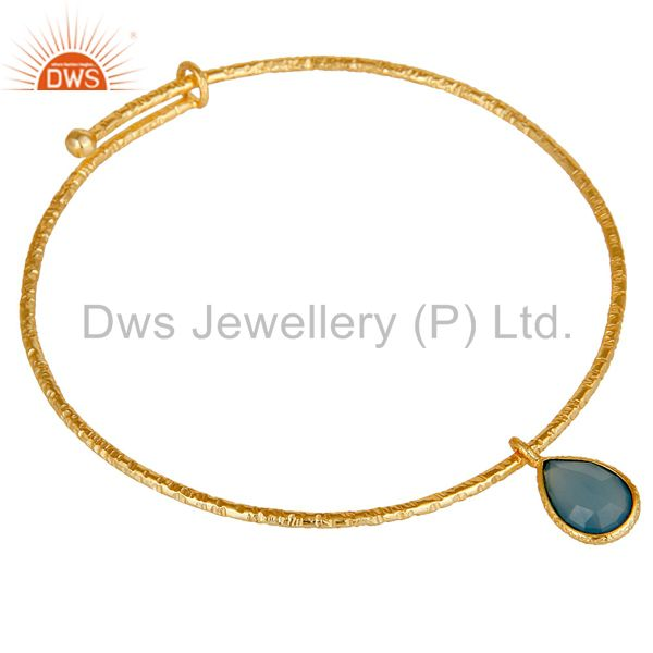 Wholesalers of 18k gold on 925 sterling silver handmade charm bangle chalcedony